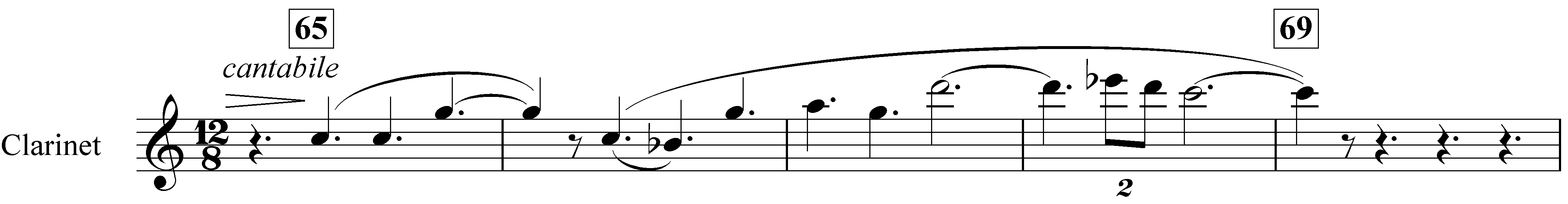 Example 5. Nottingham Symphony: First movement, bars 65–69. Second subject in clarinet in A (in transposition)