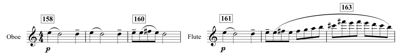 Example 8. Nottingham Symphony: Fourth movement, bars 158–63. Second subject (second theme) in oboe and flute