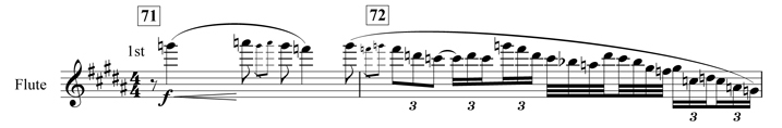 Example 11. Nottingham Symphony: Second movement, bars 71–72. Evocation of birdsong by flute at end of second subject