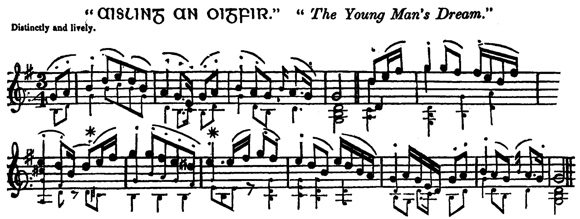 "Figure 2. ""Aisling an Oighfir"" or ""The Young Man's Dream,"" in Edward Bunting, A General Collection of the Ancient Music of Ireland (Dublin: W. Power, 1796), 9. From a facsimile edition, The Ancient Music of Ireland (Dublin: Waltons, 1969). Reproduced with kind permission of Dover Publications, Inc."