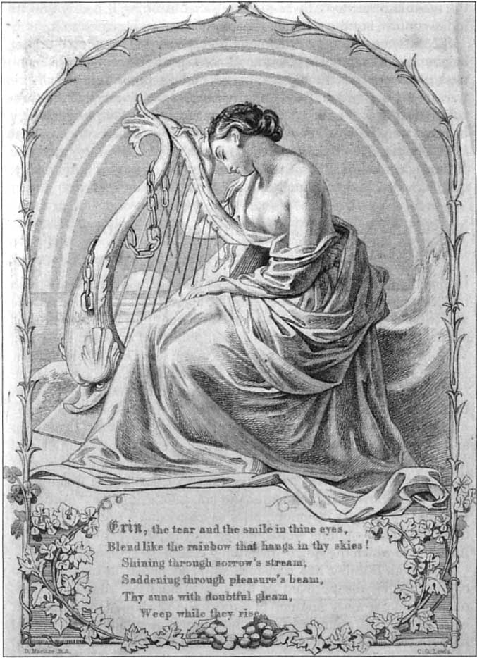 "Figure 3. The languishing feminine figure representing Ireland in Daniel Maclise's illustration to Thomas Moore's song, ""Erin, the Tear and the Smile in Thine Eyes"", in Moore's Irish Melodies (London: Longman, Green, Longman, Roberts & Green, 1865–89), 5."