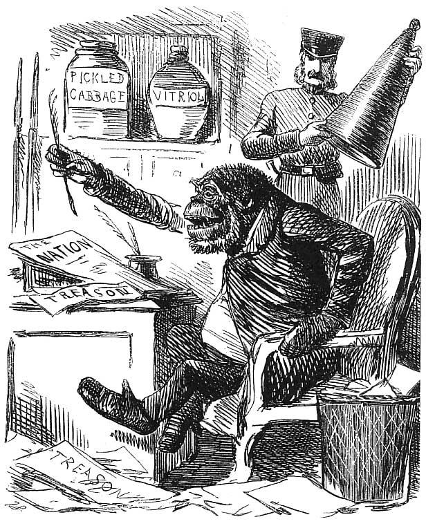 "Figure 4. English cartoonist John Leech's ""Mr. G-O'Rilla"" appeared in Punch, 14 December 1861, accompanying an article quoting calls for Irish independence made in The Nation."