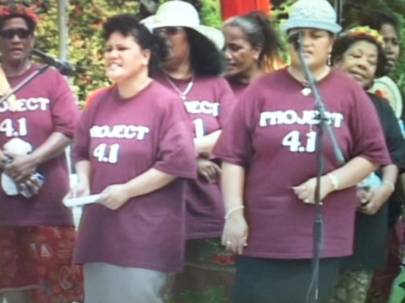 "Figure 4.: NVSRD 2004, Rongelapese women perform ""177."" (Still obtained from video at Mission Pacific Archive, Majuro, RMI.)"