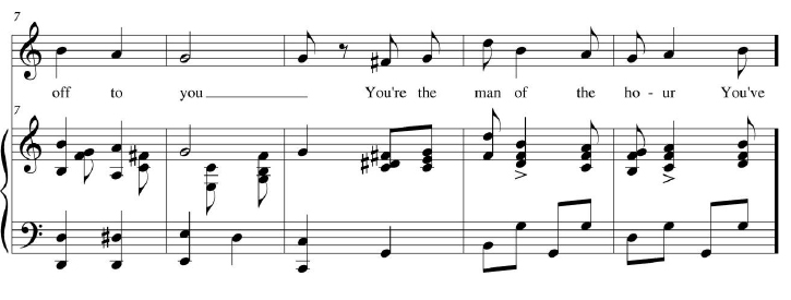 "Example 1. ""We Take Our Hats off to You Mr. Wilson!"" (1914) chorus, music and works excerpt, by Blanche Merrill."