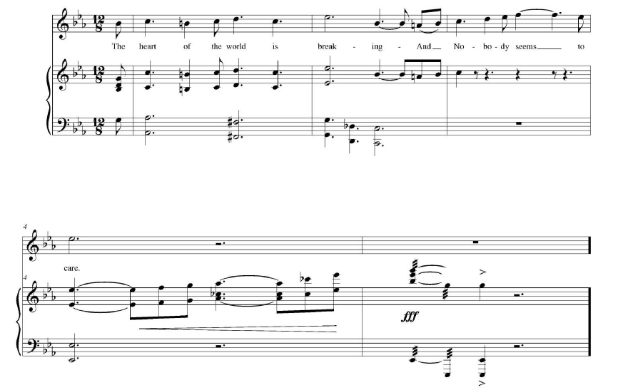"Example 2. ""The Heart of the World"" (1915) by George B. McConnell arranged by Frank Black. Final chorus, measures 12–18."
