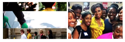 "Figure 4: Commercial stills: A Montage of ""Cool Celebrity"" Signifiers; Keys Poses with and Entourage of Obama Supporters. Organizing for Action, ""We are a Powerful Force,"" 2012."