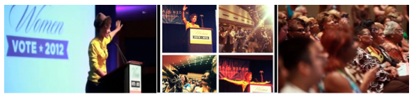 "Figure 6: Commercial still: Keys Speaks at the Women's Summit in Philadelphia. Organizing for Action, ""We are a Powerful Force,"" 2012."