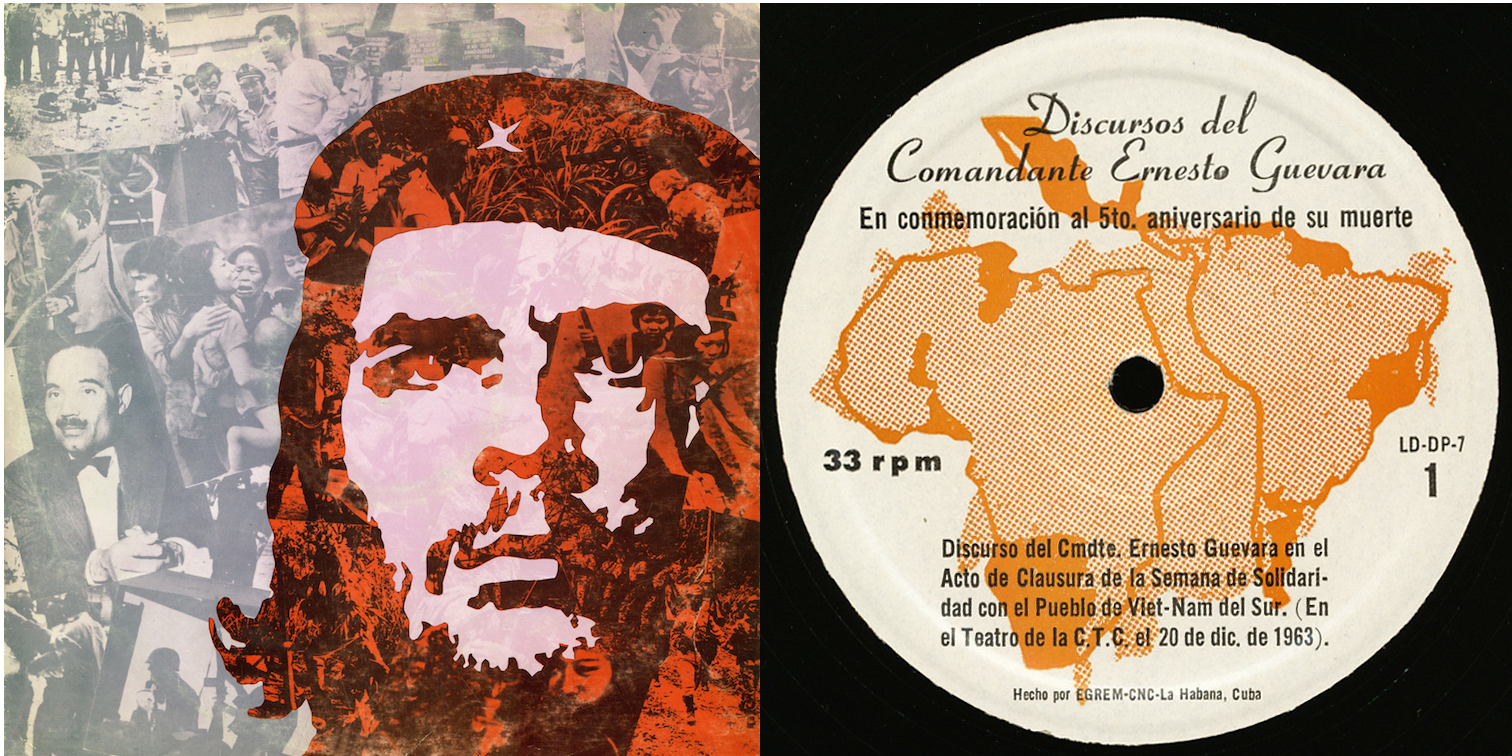 "Image 1: Cover and label of the vinyl record of Ernesto ""Che"" Guevara's speech(given in Havana, December 20, 1963)."