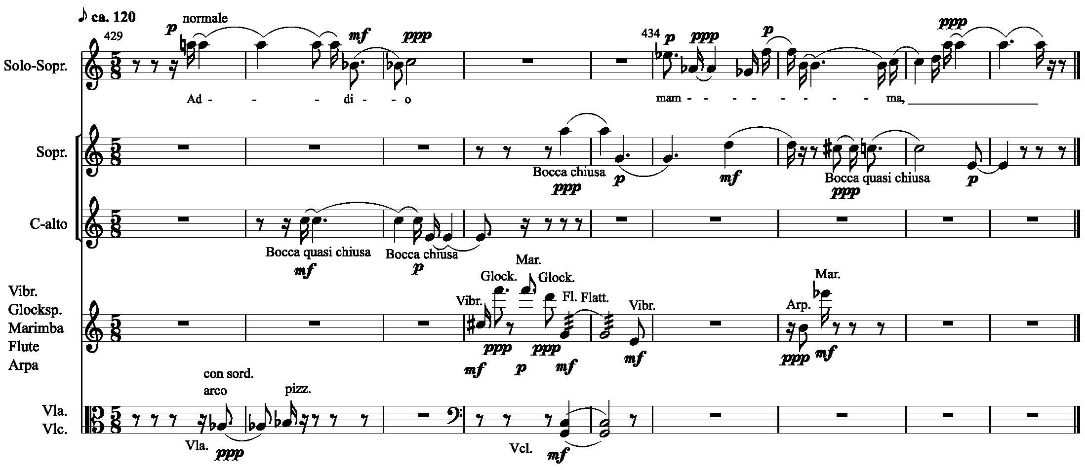 Example 3: Excerpt of the seventh movement of Il canto sospeso (m. 429-437) used in the coda of Für Paul Dessau (6'33'' – 6'57')).