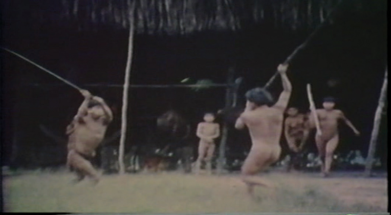 "Fig. 01 ""The Fierce People"": Images from the ethnographic film The Ax Fight, which documents a conflict within a Yanomami community witnessed during field-work research carried by North-American ethnologist Napoleon Chagnon. Realized in collaboration with Timothy Ash, 1975."