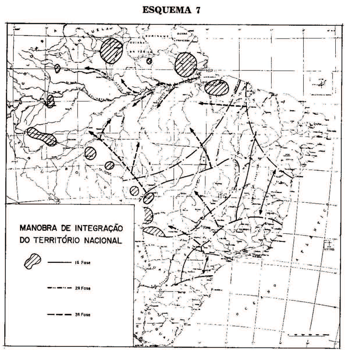 "Fig. 04 Operation Amazonia: The overlap between natural and political territories.: The first map show the Brazilian territory divided into four regions: the ""central nucleus"" connected with three ""peninsulas"" located at the south, center-west and northeast. Floating at the margins, the ""Amazonian Island"". The second map describes the ""maneuver for the integration of the national territory."""
