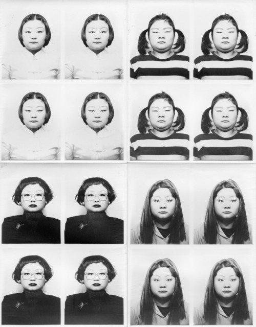 Fig. 11: Sawada Tomoko, 'ID 400 (#201-#300)'. Black and white photos on wooden board (detail). 124.5 x 99.5 cm. (full image contains 100 portraits). © Sawada Tomoko, 1998; Courtesy, MEM Inc., Tokyo.