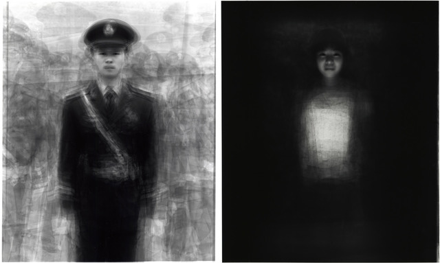 Fig. 19: Kitano Ken,  'Metaportrait of 24 guards in Tiananmen Square, Beijing', 2009, from Our Face portrait series. Gelatin silver print, 35.5x27.9 cm. © Kitano Ken, 2003; Courtesy, MEM Inc., Tokyo.