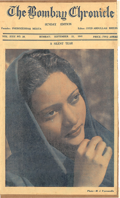 Fig. 9: A portrait of Rehana Mogul on the cover of the Bombay Chronicle, September 1941. The image is credited to Maneckshaw Vyarawalla (M.J.V.). Courtesy the Homai Vyarawalla Archive / Alkazi Collection of Photography
