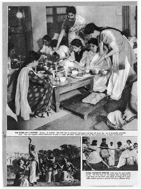 "Fig. 14: A Picture spread titled ""The Passing of a Drudge"" from the Illustrated Weekly, featuring students from Lady Irwin College, Delhi, 1946. Courtesy the Homai Vyarawalla Archive / Alkazi Collection of Photography"