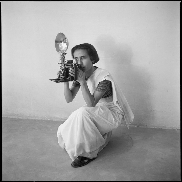 Fig. 15: Homai Vyarawalla with her Speedgraphix Camera. Courtesy the Homai Vyarawalla Archive / Alkazi Collection of Photography