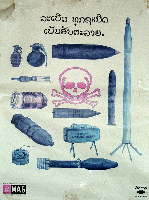 Fig. 1.2: MAG (Mines Advisory Group) poster of range of weapons to avoid.