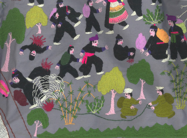 Fig. 1.9: Section of a Hmong embroidery showing dangers of explosions during the Laotian war.