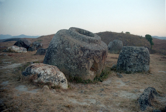 Fig. 2.1: Plain of Jars, Laos, where intense bombing destroyed many of the stone containers.