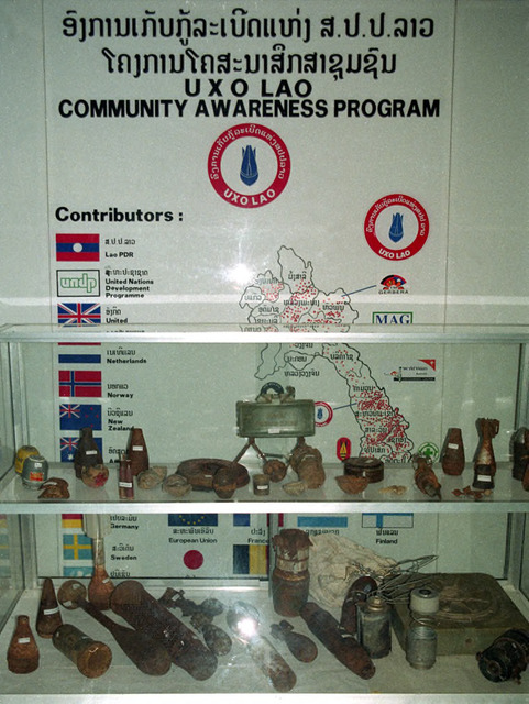 Fig. 2.4: Display of bombs in UXO Lao center, Vientiane, Laos.