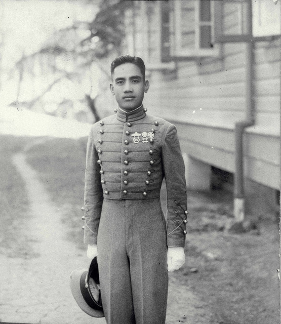 Cadet with cap in hand, Philippine Military Academy, Baguio, 1936-1937.