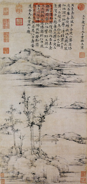 Fig. 6: Ni Zan 倪瓉 (1301-1374), The Rongxi Studio 容膝齋圖軸, 1372. Hanging scroll, ink on paper. National Palace Museum, Taipei.