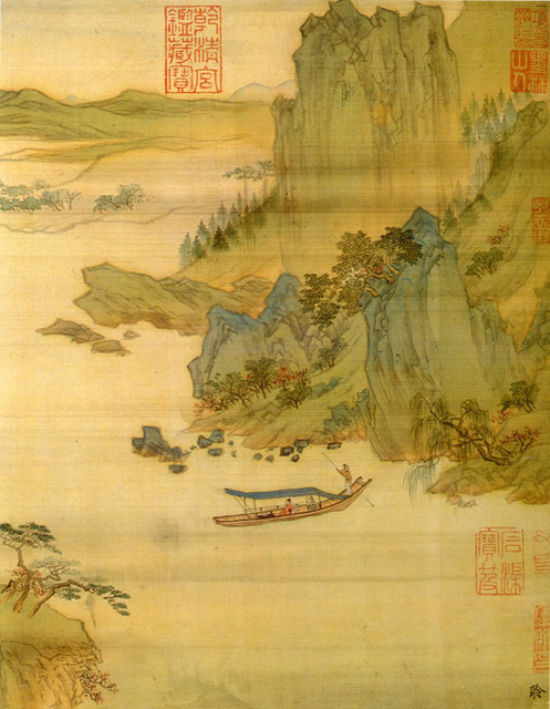 Fig. 13: Qiu Ying 仇英 (1494-1552), from Six Scenes in Song & Yuan Styles 臨宋元六景, no. 1 (detail). Album of six leaves, ink & colors on silk. National Palace Museum, Taipei.