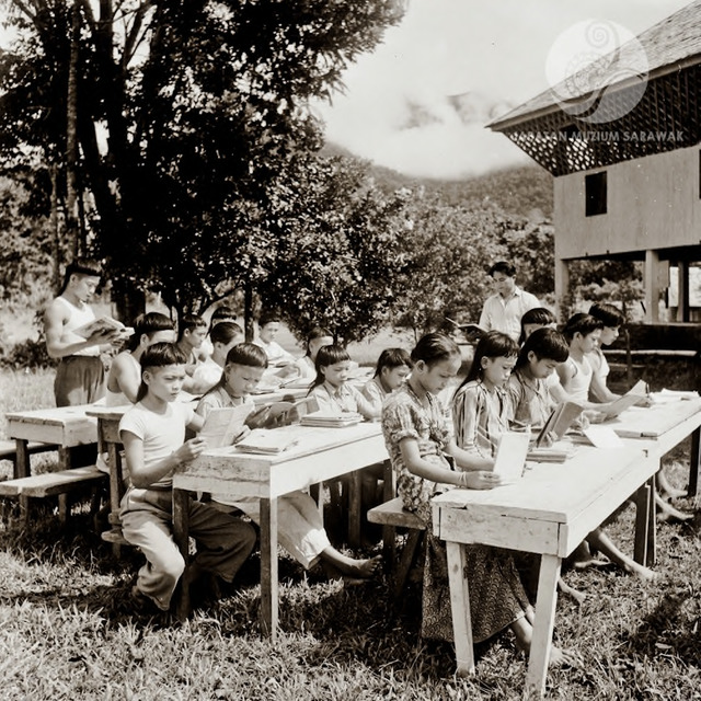Figure 12: School in the upper Tinjar. Classes were held in the government building on the right,  but the photographer asked students to carry the chairs and tables outside for the photograph. Lepo' Luju, 1956. Photograph from the archive of the Sarawak Museum.