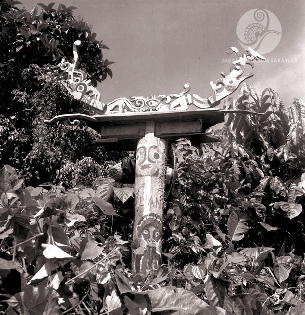 Figure 14: Decorated and painted burial pole for secondary burial near Long Jegan, 1956. Photograph from the archive of the Sarawak Museum.