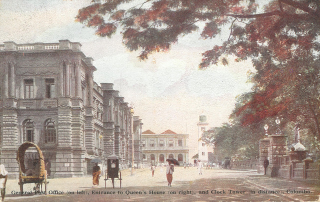 Fig. 11. Plâté, Ltd. No. 3, General Post Office (on left), Entrance to Queen's House (on right), and Clock Tower (in distance), Colombo. Collection of the author.