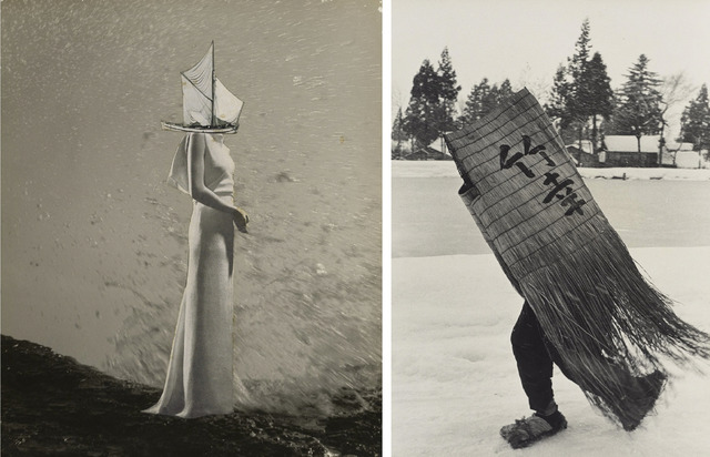 Fig. 1. (left) A Chronicle of Drifting (1949), by Kansuke Yamamoto, collage, © Toshio Yamamoto, private collection, Tokyo Metropolitan Museum of Photography. Fig. 2. (right) Man in a Traditional Minoboshi Raincoat, Niigata Prefecture (1956), by Hiroshi Hamaya, gelatin silver print, © Keisuke Katano, The J. Paul Getty Museum, Los Angeles.