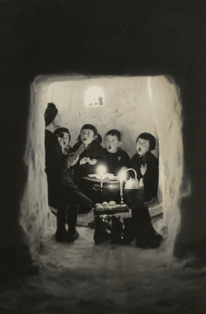Fig. 4. Children Singing in a Snow Cave, Niigata Prefecture (1956), by Hiroshi Hamaya, gelatin silver print, © Keisuke Katano, The J. Paul Getty Museum, Los Angeles.