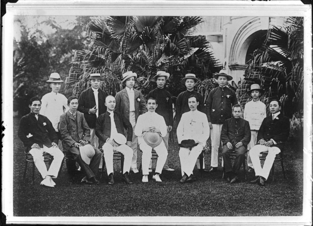 Fig. 2. Group photograph of Sun Yat-sen and founding members of the Singapore branch of the Tung Meng Hui [Chinese Revolutionary Alliance] in Tai Bin Road several days after the alliance was formed, April 1906. (Lee Brothers Studio Collection, courtesy of National Archives of Singapore)