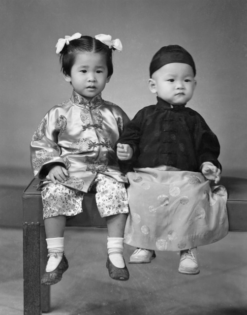 Fig. 5. P. S. Teo's photograph of children in Chinese costume, 1954. (Studio Deluxe Collection, courtesy of National Archives of Singapore)
