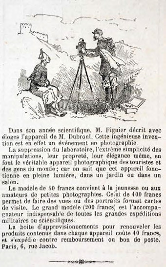 Fig. 1. Advertisement for Dubroni cameras, around 1866 (taken from Le Monde Illustré no. 462 - 17/02/1866).