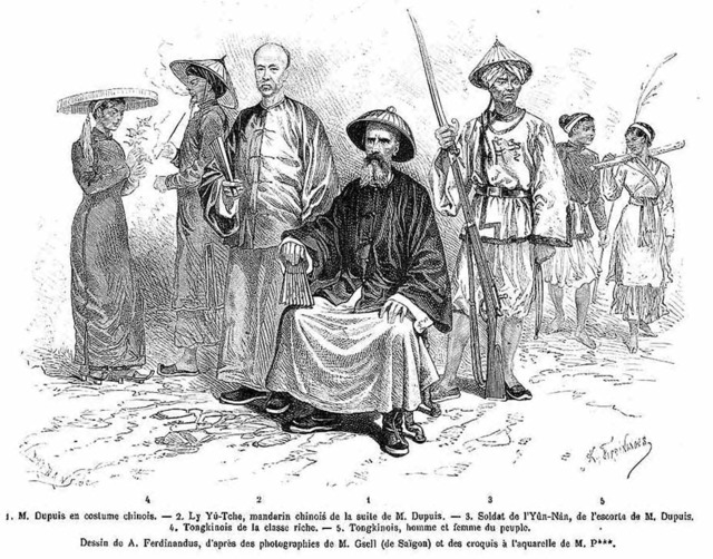 "Fig. 5. Drawings after photographic portraits by Gsell, published in ""The Conquest of the Tonkin Delta"" (""La conquête du delta du Tong-kin"") by Romanet de Caillaud. The image shows Jean Dupuis with the Chinese official and Yunnanese guard who accompanied him, as well as northern Vietnamese of aristocratic and common classes."