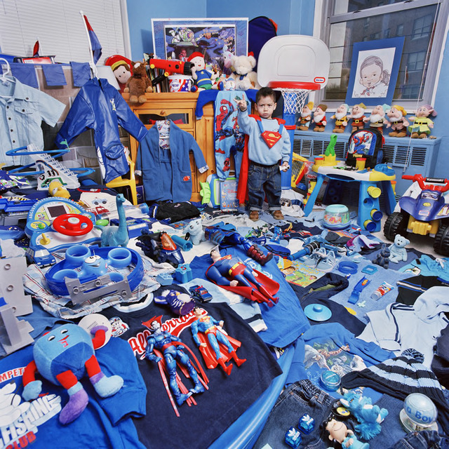 "Jeongmee Yoon, ""Ethan and His Blue Things,"" The Pink and Blue Project, 2006, light jet Print, courtesy the artist."