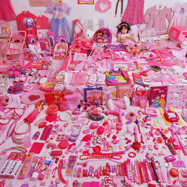 "Jeongmee Yoon, ""Seowoo and Her Pink Things,"" The Pink and Blue Project, 2005, light jet Print, courtesy the artist."