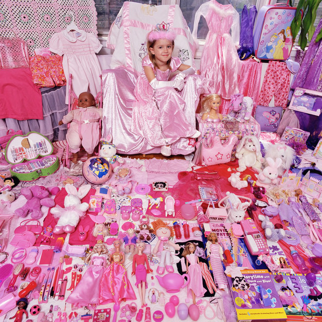 "Jeongmee Yoon, ""Tess and Her Pink & Purple Things,"" The Pink and Blue Project, 2006,  light jet Print, courtesy the artist."