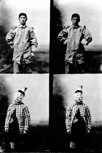 Fig. 3. Frank Matsura, Matsura in Clown Costumes, ca. 1908. Frank Matsura Photographs (35-01-02), Manuscripts, Archives, and Special Collections (MASC), Washington State University Libraries.