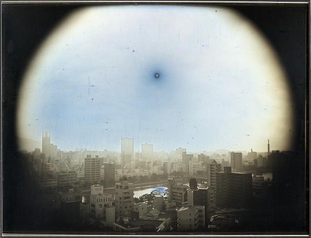 Fig. 1. Takashi Arai, March 23, 2014, The Sun at the Apparent Altitude of 570 m in WNW, Hijiyama Park, from the series Exposed in a Hundred Suns, 2014, 19,3 x 25,2 cm, daguerreotype, © 2014 Takashi Arai, courtesy of the Museum of Modern Art, Boston.