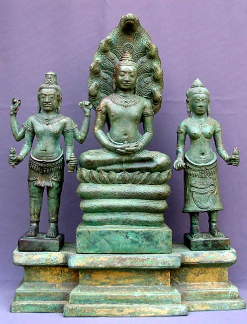 Fig. 5. Buddhist Triad, in bronze, height: 49.5 cm. Late twelfth to early thirteenth century, Prei Monti, Roluos (Siem Reap). National Museum of Cambodia, Phnom Penh, Ga.2424 Ga.5470.