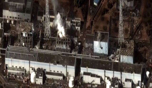Fig. 1. The Fukushima Daiichi Nuclear Plant after the 2011 Tōhoku earthquake and tsunami, on March 16, 2011, © Digital Globe.