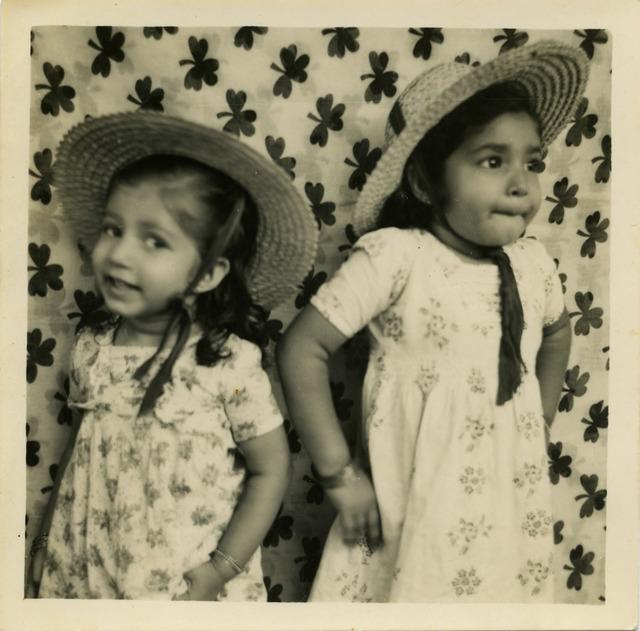 Fig. 9. Haleema Hashim, Tasneem Arif and Naaz Naseer, 1950s, 6.35 x 6.35 cm., courtesy of  Nihaal Faizal.
