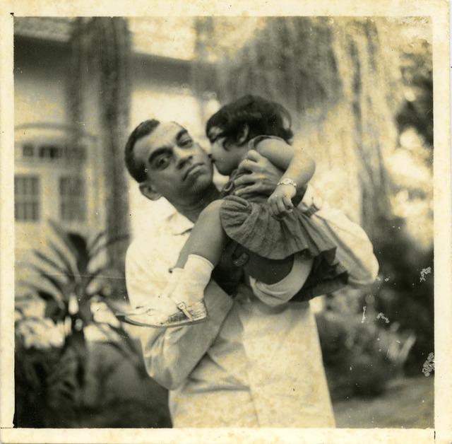 Fig. 19. Haleema Hashim, Hashim Usman and Naheed Nayeem, 1950s, 6.35 x 6.35 cm., courtesy of Nihaal Faizal.