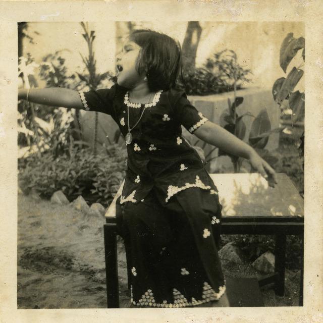 Fig. 39. Haleema Hashim, Yasmin Ismail, 1950s, 6.35 x 6.35 cm., courtesy of Nihaal Faizal.