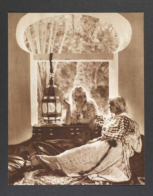 Photographer unknown, Untitled (Woman posed in 'harem' by window), 1890s, 250 x 199 mm, from the Ken and Jenny Jacobson Orientalist Photography Collection, The Getty Research Institute Special Collections.