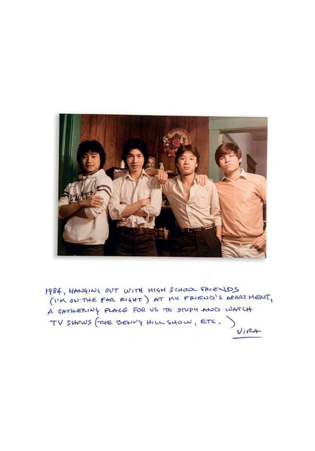 Fig. 15.  Dimensions: 5.25 x 3.5 inches, Circa 1984. These are my friends who I visited at their apartment, they had a camera and we made this photograph. They were all Vietnamese and refugees as well. We played soccer together, all the refugees hung out together. At school there were about 15 of us, the experience of being a refuge is what brought us together, like any teenager you wanted to be part of the group. This was our little South East Asian group, we would play soccer against other immigrants from Central America - Honduras, El Salvador, Nicaragua, and Guatemala.