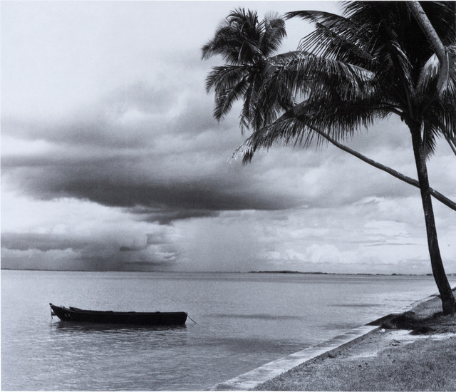 "Fig. 1. This 1957 photo of the Bedok coast captures its seafront, framed by palms and with an approaching ""Sumatra"" rainstorm. Marjorie Doggett, © National Archives of Singapore."