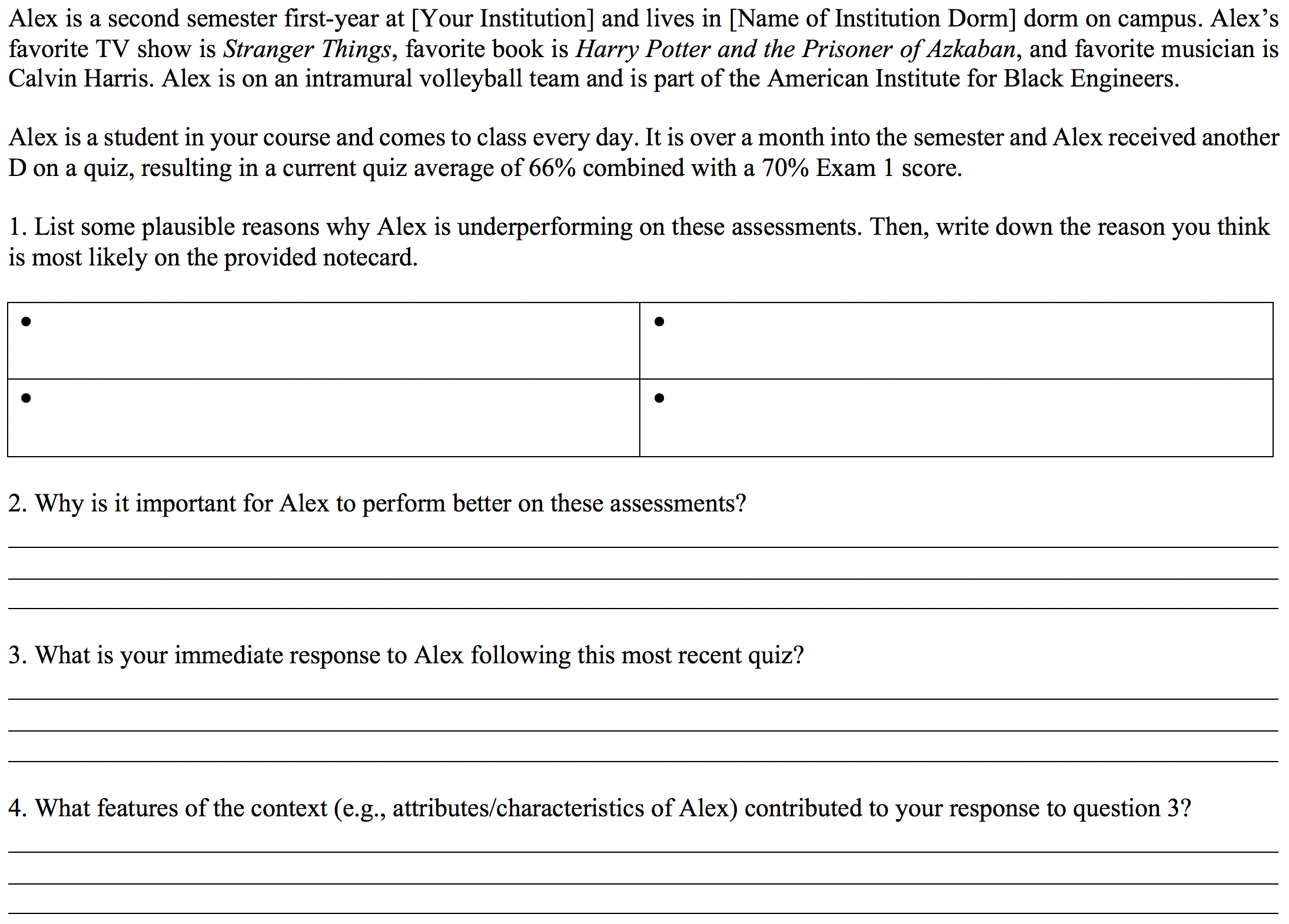 Figure 1. Sample Part One worksheet featuring the demographic details of Alex (including the unique marker of being in the American Institute for Black Engineers), the teaching scenario, and the list of questions participants should reflect on.